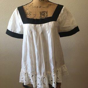 Zara silk blouse w/ cotton ruffle hemline